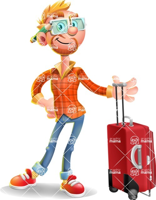Casual Man with Glasses 3D Vector Cartoon Character - Travel 1