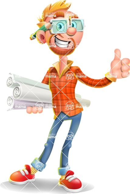 Casual Man with Glasses 3D Vector Cartoon Character AKA Sean Ginger - Plans