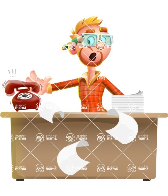 Casual Man with Glasses 3D Vector Cartoon Character - Office fever