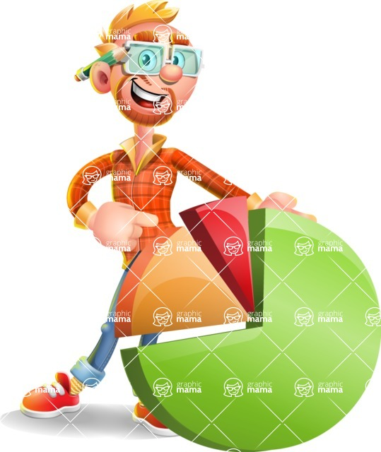 Casual Man with Glasses 3D Vector Cartoon Character AKA Sean Ginger - Chart