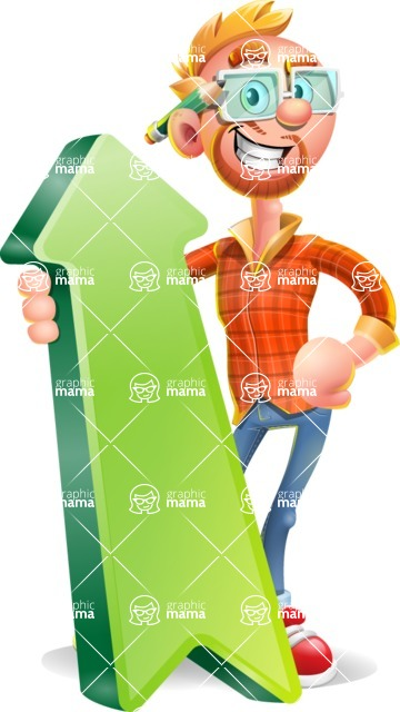 Casual Man with Glasses 3D Vector Cartoon Character - Pointer 1