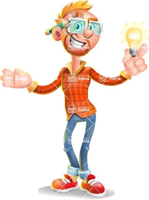 Casual Man with Glasses 3D Vector Cartoon Character AKA Sean Ginger - Idea 1