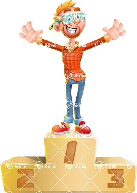 Casual Man with Glasses 3D Vector Cartoon Character AKA Sean Ginger - On Top