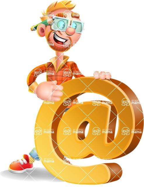 Casual Man with Glasses 3D Vector Cartoon Character - Email