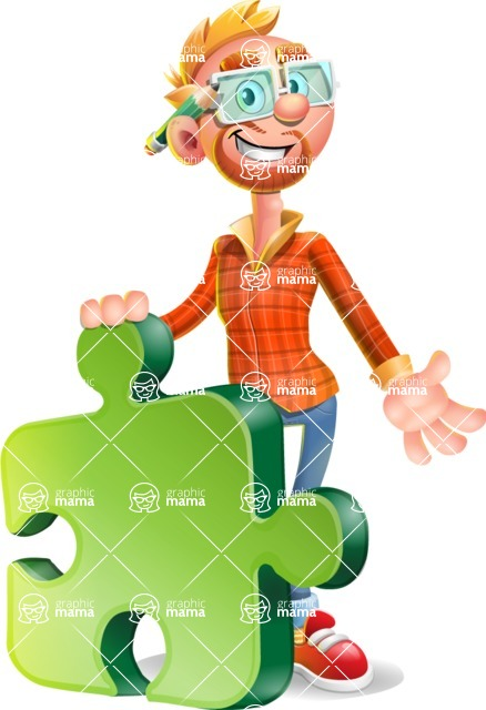 Casual Man with Glasses 3D Vector Cartoon Character - Puzzle