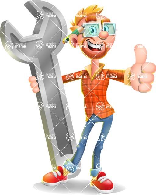 Casual Man with Glasses 3D Vector Cartoon Character - Repair