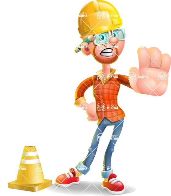 Casual Man with Glasses 3D Vector Cartoon Character - Under Construction 1