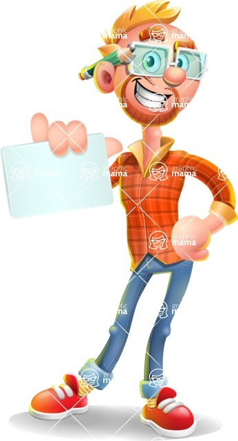 Casual Man with Glasses 3D Vector Cartoon Character AKA Sean Ginger - Sign 1