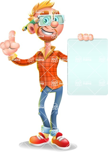 Casual Man with Glasses 3D Vector Cartoon Character - Sign 2