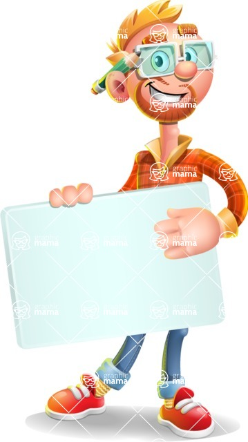 Casual Man with Glasses 3D Vector Cartoon Character - Sign 3