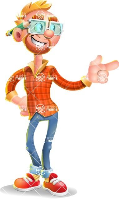 Casual Man with Glasses 3D Vector Cartoon Character - Point