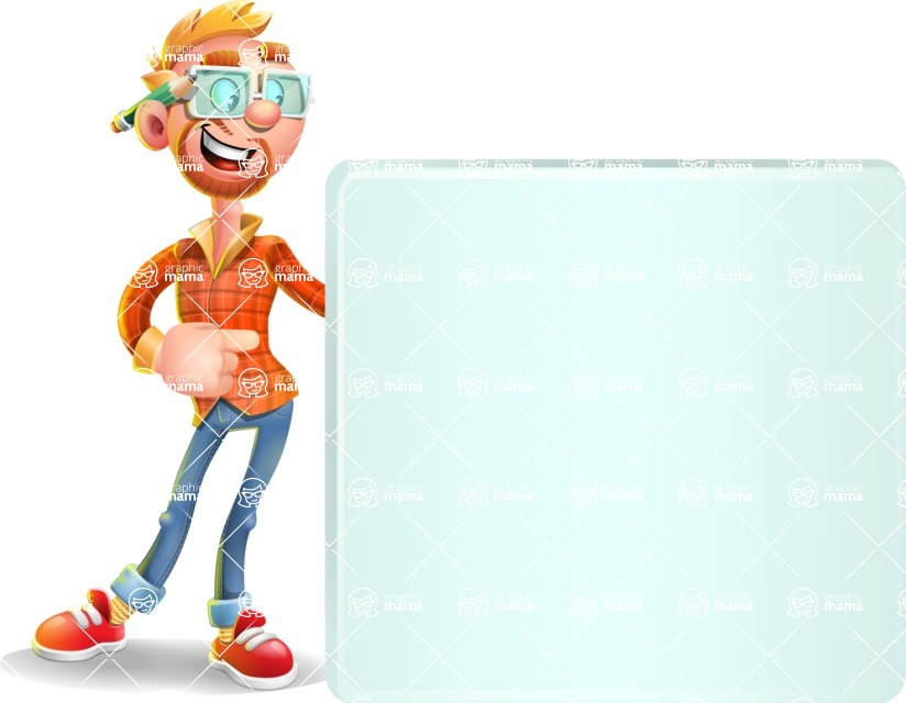 Casual Man with Glasses 3D Vector Cartoon Character - Sign 8