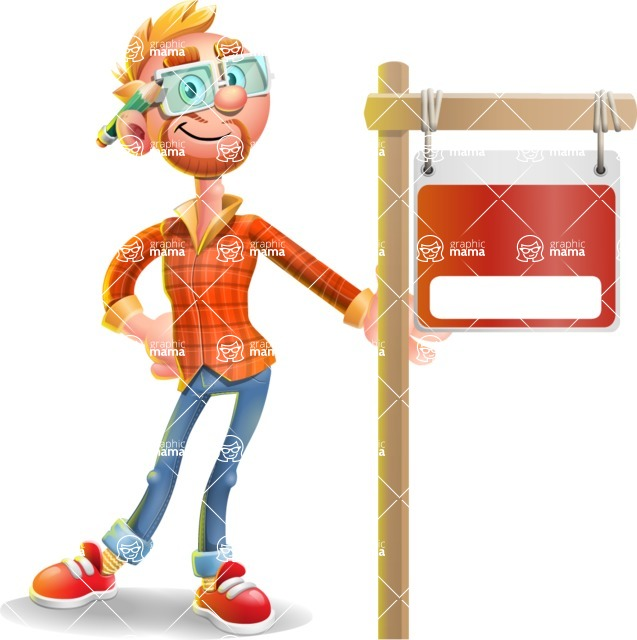 Casual Man with Glasses 3D Vector Cartoon Character - Sign 9