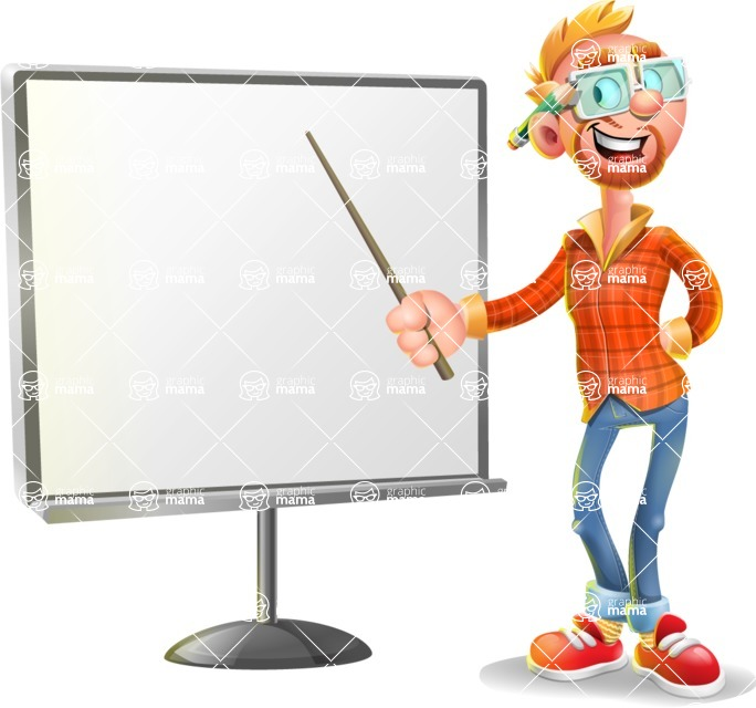 Casual Man with Glasses 3D Vector Cartoon Character - Presentation 2