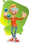 Casual Man with Glasses 3D Vector Cartoon Character - Shape 7