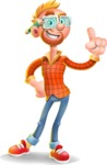 Casual Man with Glasses 3D Vector Cartoon Character AKA Sean Ginger - Attention