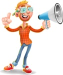 Casual Man with Glasses 3D Vector Cartoon Character AKA Sean Ginger - Loudspeaker