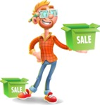 Casual Man with Glasses 3D Vector Cartoon Character AKA Sean Ginger - Sale