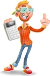 Casual Man with Glasses 3D Vector Cartoon Character - Calculator