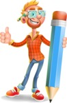 Casual Man with Glasses 3D Vector Cartoon Character AKA Sean Ginger - Pencil