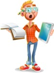 Casual Man with Glasses 3D Vector Cartoon Character - Book and iPad