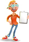 Casual Man with Glasses 3D Vector Cartoon Character - Notepad 4