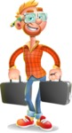 Casual Man with Glasses 3D Vector Cartoon Character - Briefcase 3