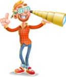 Casual Man with Glasses 3D Vector Cartoon Character AKA Sean Ginger - Telescope