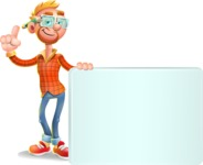 Casual Man with Glasses 3D Vector Cartoon Character - Sign 7