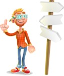 Casual Man with Glasses 3D Vector Cartoon Character - Crossroad