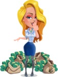 Pretty Girl Cartoon Vector Character AKA Pearl: Classic Blue Edition 2020 - Money 1