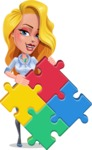 Pretty Girl Cartoon Vector Character AKA Pearl: Classic Blue Edition 2020 - Puzzle