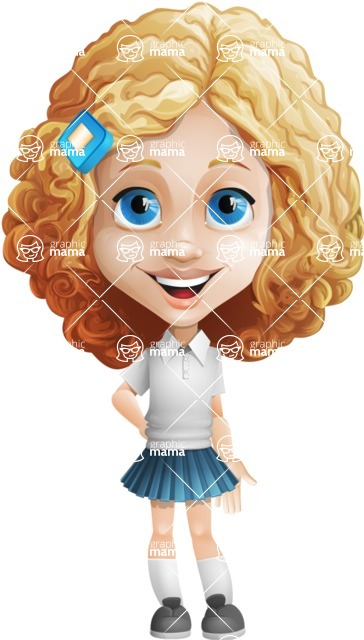Little Blonde Girl with Curly Hair Cartoon Vector Character AKA Ella Sugarsweet - Normal