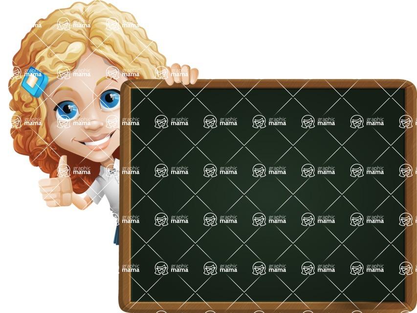 Little Blonde Girl with Curly Hair Cartoon Vector Character AKA Ella Sugarsweet - Presentation 5