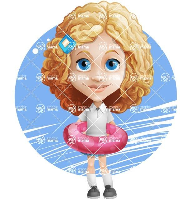 Little Blonde Girl with Curly Hair Cartoon Vector Character AKA Ella Sugarsweet - Shape 7