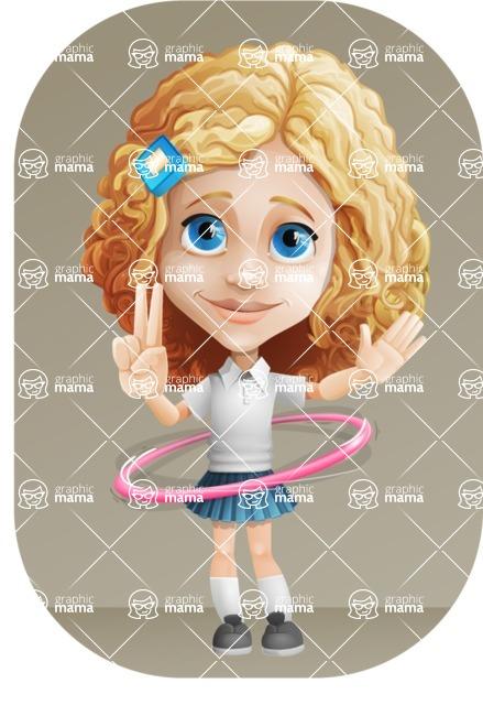 Little Blonde Girl with Curly Hair Cartoon Vector Character AKA Ella Sugarsweet - Shape 9