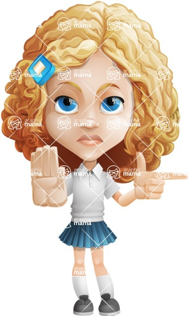 Little Blonde Girl with Curly Hair Cartoon Vector Character AKA Ella Sugarsweet - Direct Attention