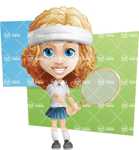 Little Blonde Girl with Curly Hair Cartoon Vector Character AKA Ella Sugarsweet - Shape 10