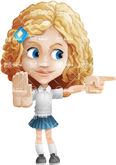 Little Blonde Girl with Curly Hair Cartoon Vector Character AKA Ella Sugarsweet - Direct Attention 2