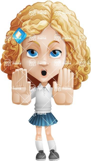 Little Blonde Girl with Curly Hair Cartoon Vector Character AKA Ella Sugarsweet - Stop 2