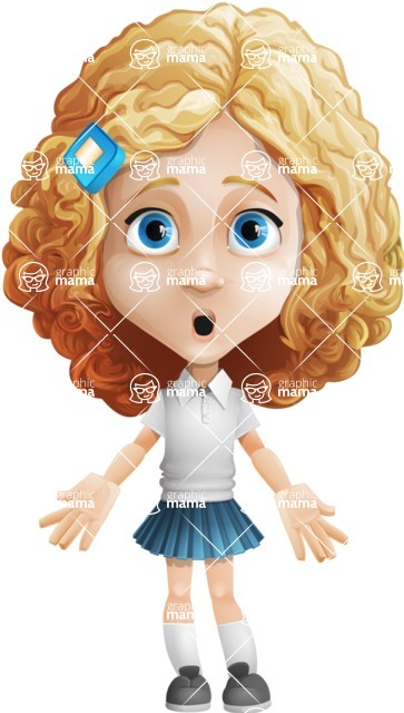 Little Blonde Girl with Curly Hair Cartoon Vector Character AKA Ella Sugarsweet - Stunned