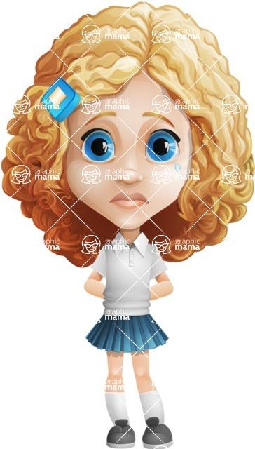 Little Blonde Girl with Curly Hair Cartoon Vector Character AKA Ella Sugarsweet - Sad