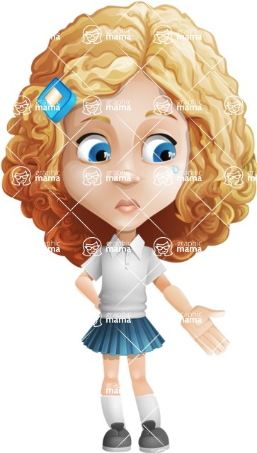 Little Blonde Girl with Curly Hair Cartoon Vector Character AKA Ella Sugarsweet - Sad 2