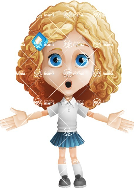 Little Blonde Girl with Curly Hair Cartoon Vector Character AKA Ella Sugarsweet - Shocked