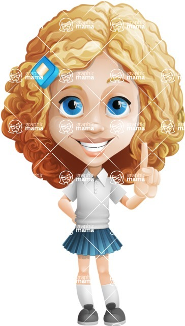 Little Blonde Girl with Curly Hair Cartoon Vector Character AKA Ella Sugarsweet - Attention
