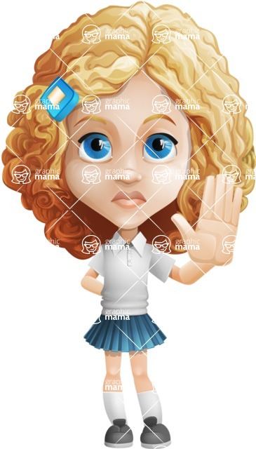 Little Blonde Girl with Curly Hair Cartoon Vector Character AKA Ella Sugarsweet - Good Bye