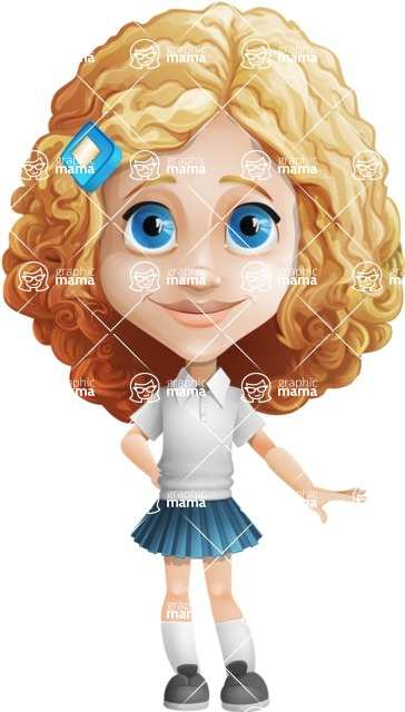 Little Blonde Girl with Curly Hair Cartoon Vector Character AKA Ella Sugarsweet - Oops