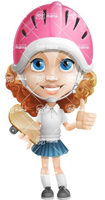 Little Blonde Girl with Curly Hair Cartoon Vector Character AKA Ella Sugarsweet - Skateboard