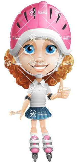 Little Blonde Girl with Curly Hair Cartoon Vector Character AKA Ella Sugarsweet - Inline Skate