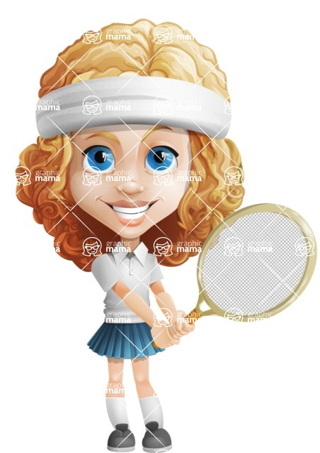 Little Blonde Girl with Curly Hair Cartoon Vector Character AKA Ella Sugarsweet - Tennis